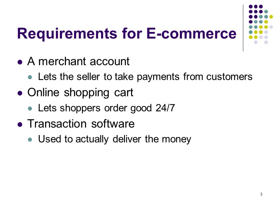 5 Requirements for E-commerce A merchant account Lets the seller to take payments from customers Online shopping cart Lets shoppers order good 24/7 Transaction software Used to actually deliver the money