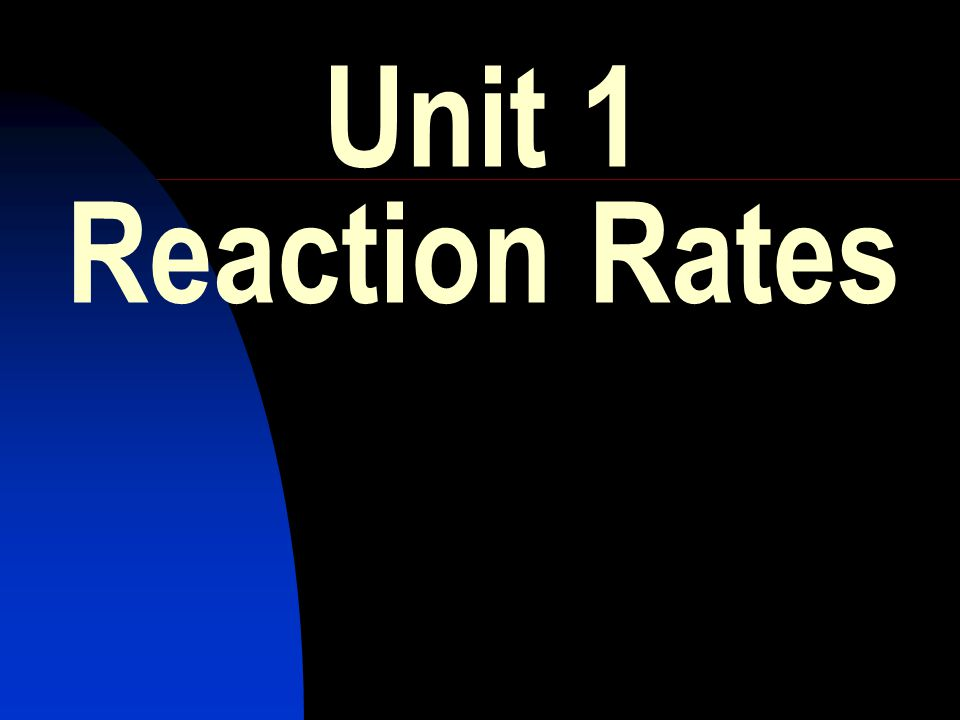 Unit 1 Reaction Rates
