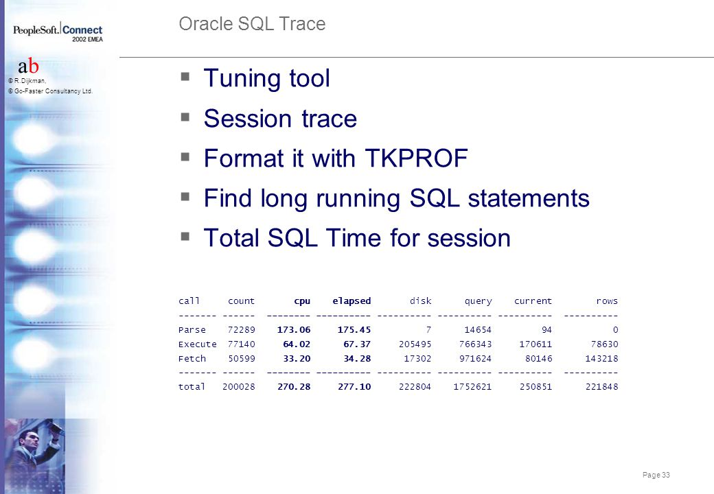 Page 33 abab © R.Dijkman, © Go-Faster Consultancy Ltd. Oracle SQL Trace  Tuning tool  Session trace  Format it with TKPROF  Find long running SQL