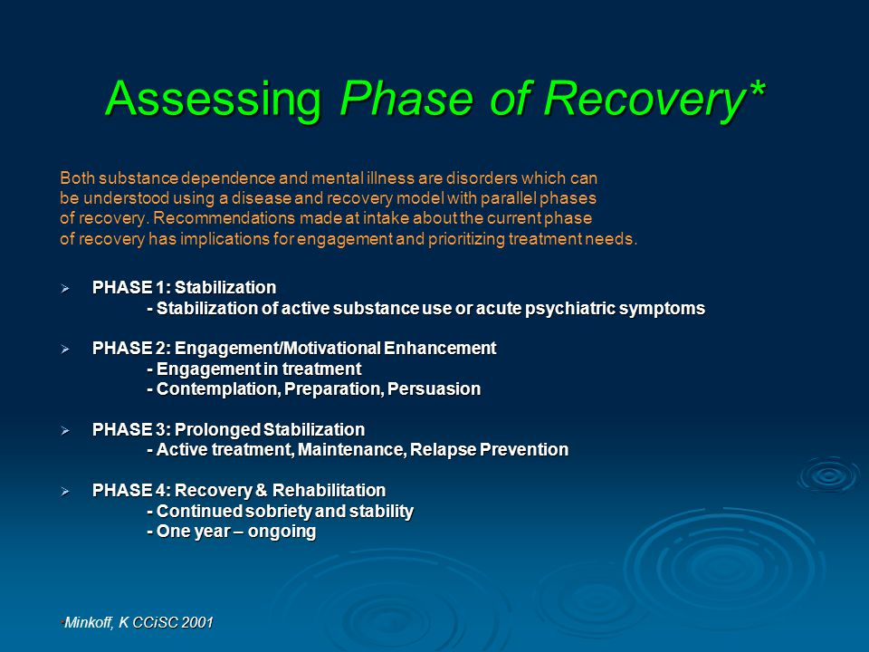 Assessing Phase of Recovery* Both substance dependence and mental illness are disorders which can be understood using a disease and recovery model with parallel phases of recovery.