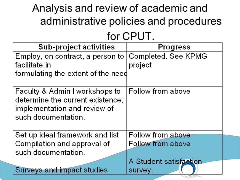 Analysis and review of academic and administrative policies and procedures for CPUT.
