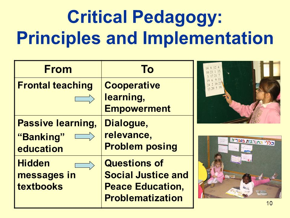 10 Critical Pedagogy: Principles and Implementation FromTo Frontal teachingCooperative learning, Empowerment Passive learning, Banking education Dialogue, relevance, Problem posing Hidden messages in textbooks Questions of Social Justice and Peace Education, Problematization