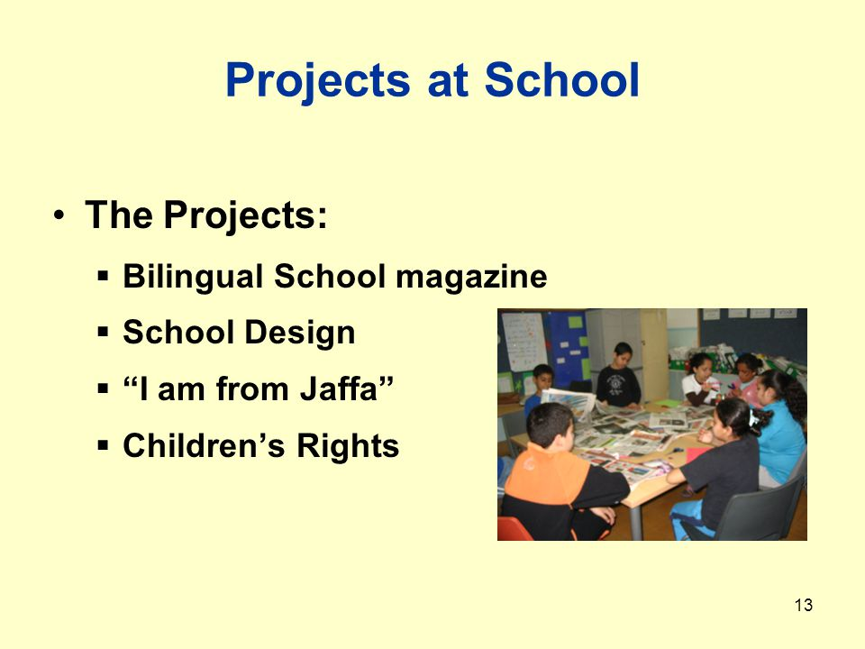 13 Projects at School The Projects:  Bilingual School magazine  School Design  I am from Jaffa  Children's Rights