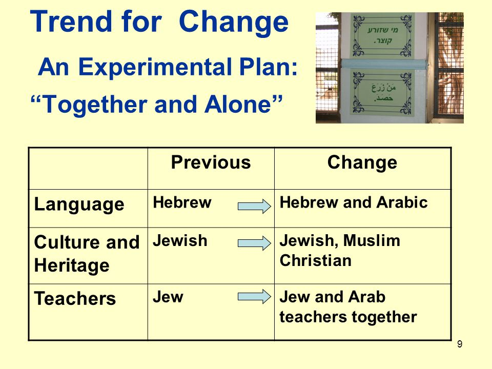 9 Trend for Change An Experimental Plan: Together and Alone PreviousChange Language HebrewHebrew and Arabic Culture and Heritage JewishJewish, Muslim Christian Teachers JewJew and Arab teachers together