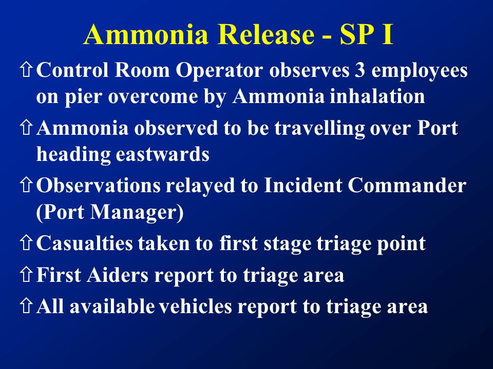 ñControl Room Operator observes 3 employees on pier overcome by Ammonia inhalation ñAmmonia observed to be travelling over Port heading eastwards ñObs