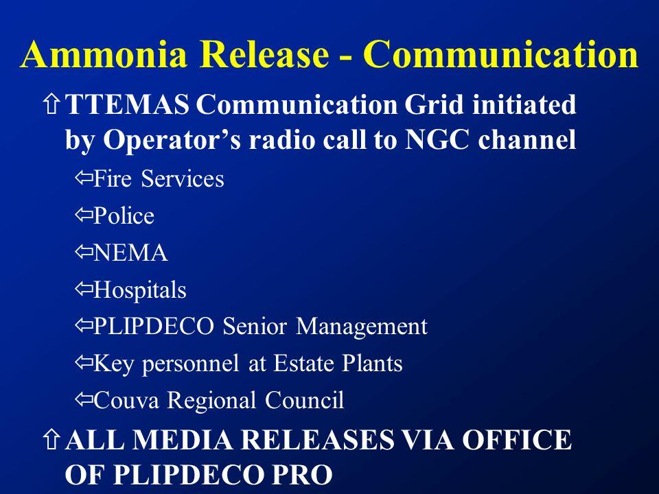 ñTTEMAS Communication Grid initiated by Operator's radio call to NGC channel ïFire Services ïPolice ïNEMA ïHospitals ïPLIPDECO Senior Management ïKey