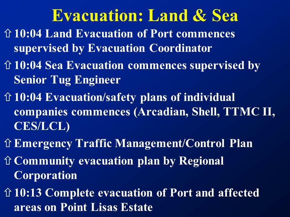 ñ10:04 Land Evacuation of Port commences supervised by Evacuation Coordinator ñ10:04 Sea Evacuation commences supervised by Senior Tug Engineer ñ10:04