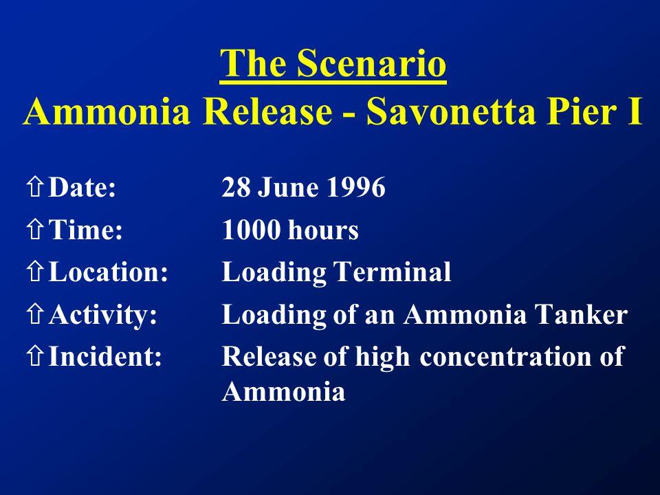 The Scenario Ammonia Release - Savonetta Pier I ñDate:28 June 1996 ñTime: 1000 hours ñLocation:Loading Terminal ñActivity:Loading of an Ammonia Tanker