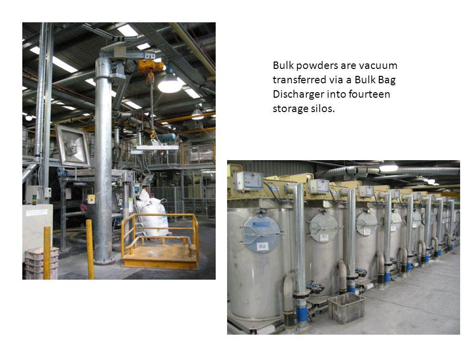 Bulk powders are vacuum transferred via a Bulk Bag Discharger into fourteen storage silos.