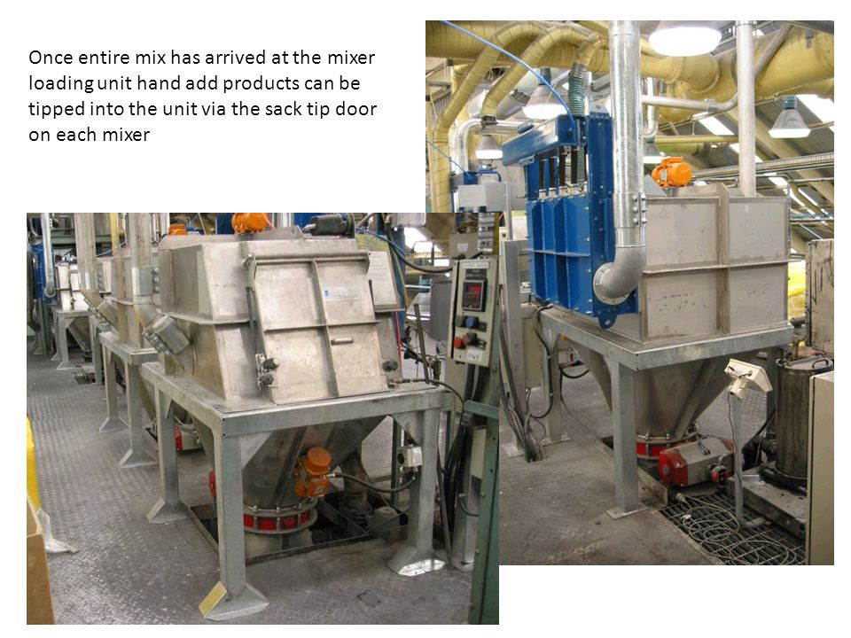Once entire mix has arrived at the mixer loading unit hand add products can be tipped into the unit via the sack tip door on each mixer