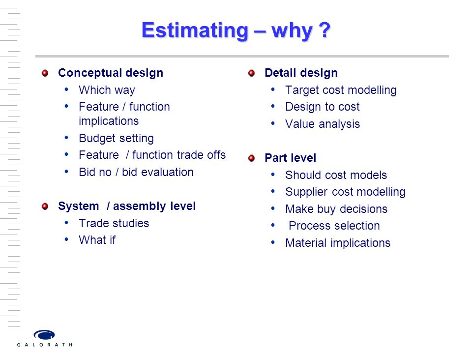 Estimating – why .