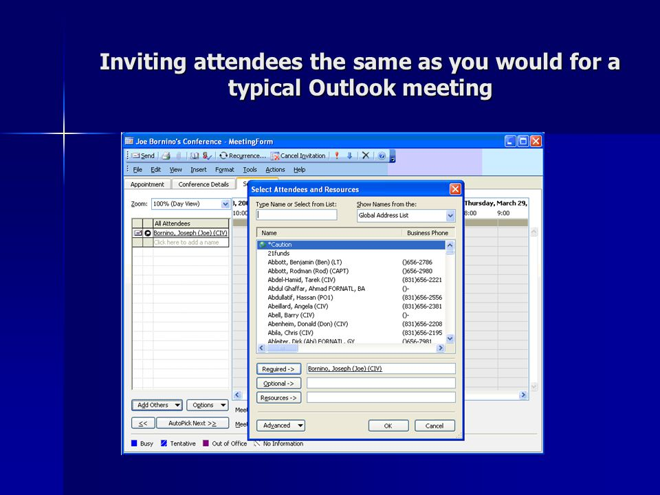 Inviting attendees the same as you would for a typical Outlook meeting