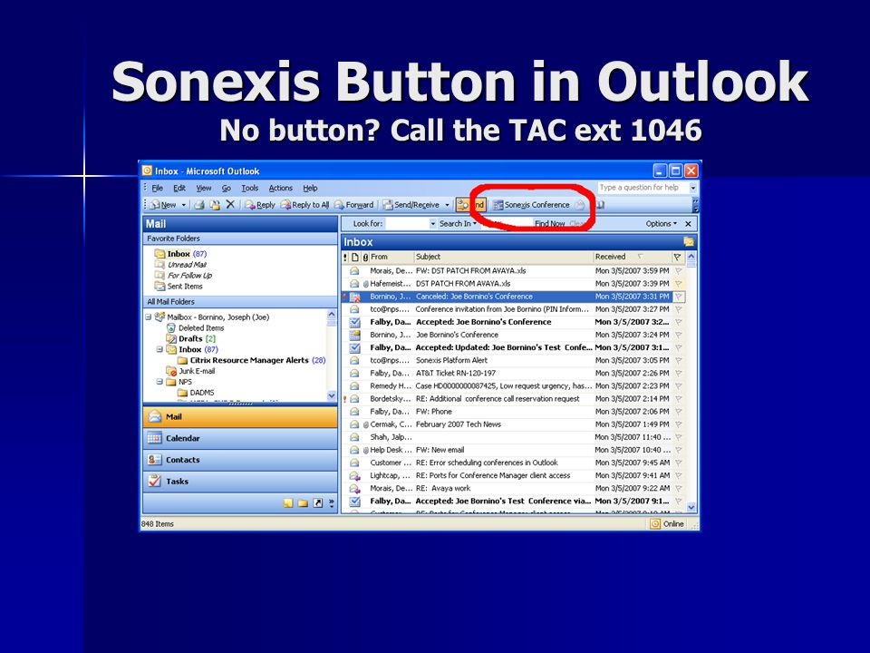 First time use – you'll need to provide the Conference ID assigned by the TCO In Outlook select In Outlook select –Tools / Options –Sonexis tab Provide your Provide your –Conference ID –PIN Server URL is Server URL is –http://blueridge.nps.edu