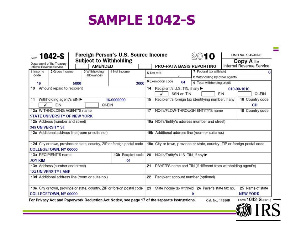 SAMPLE 1042-S 01