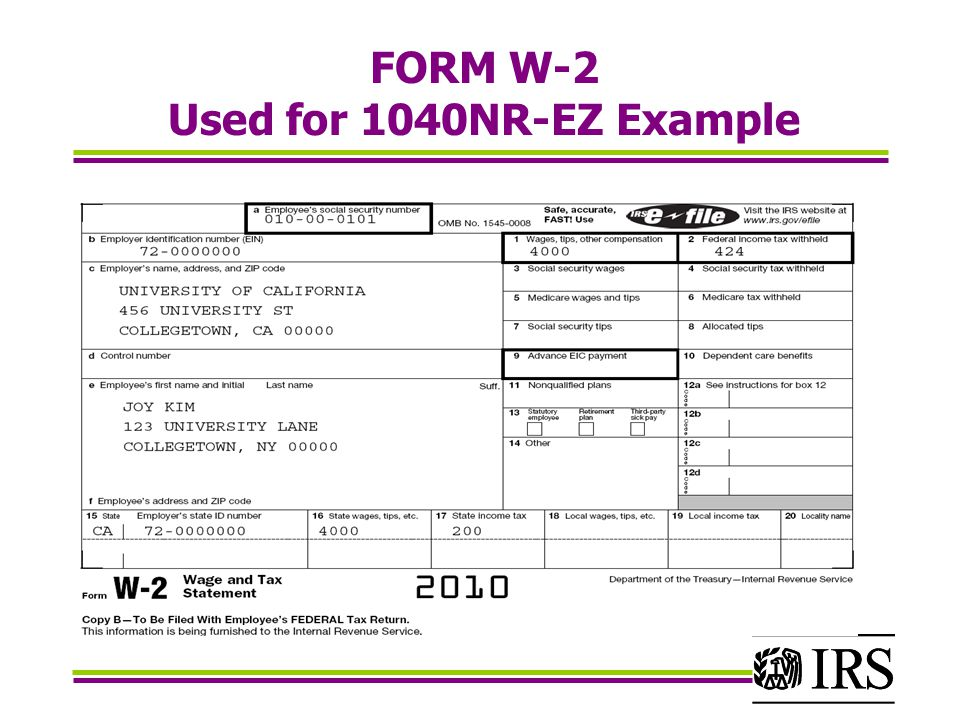 FORM W-2 Used for 1040NR-EZ Example