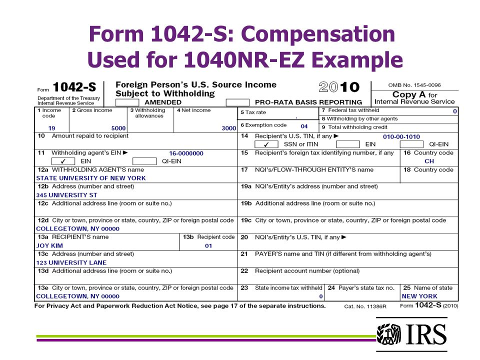 Form 1042-S: Compensation Used for 1040NR-EZ Example