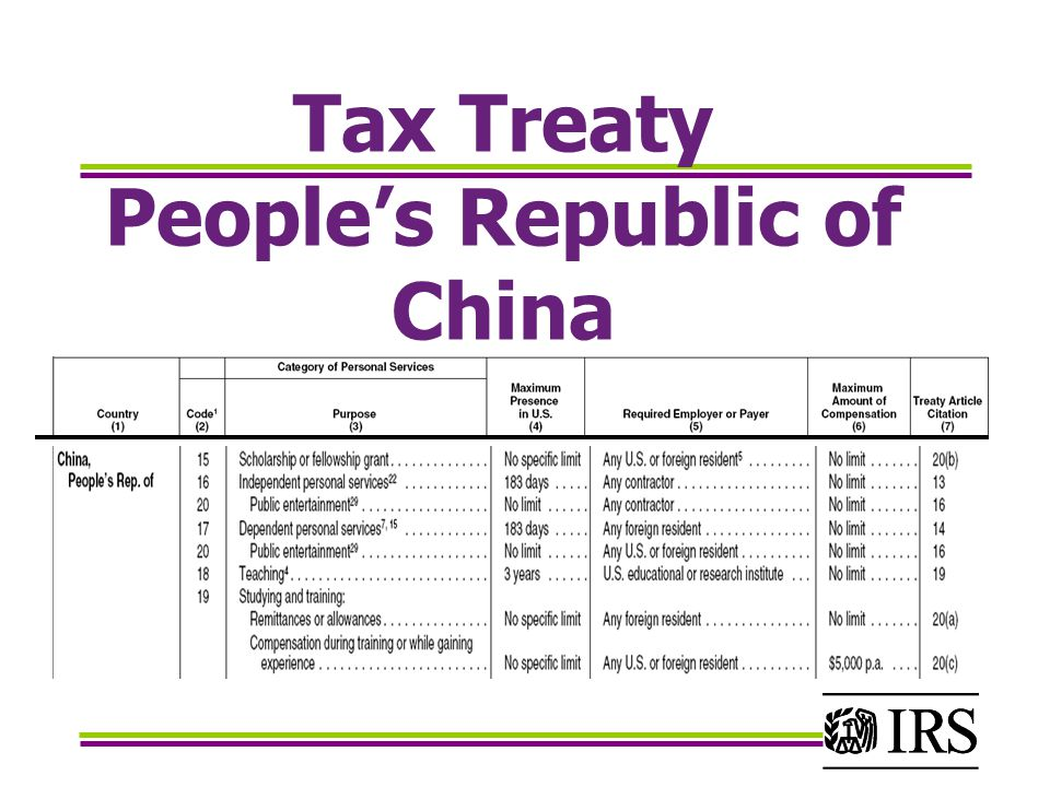 Tax Treaty People's Republic of China
