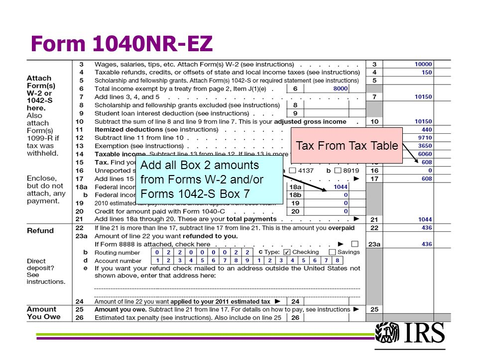 Form 1040NR-EZ Add all Box 2 amounts from Forms W-2 and/or Forms 1042-S Box 7 Tax From Tax Table