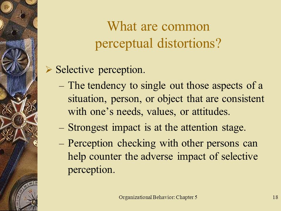 Organizational Behavior: Chapter 518 What are common perceptual distortions?  Selective perception. – The tendency to single out those aspects of a s