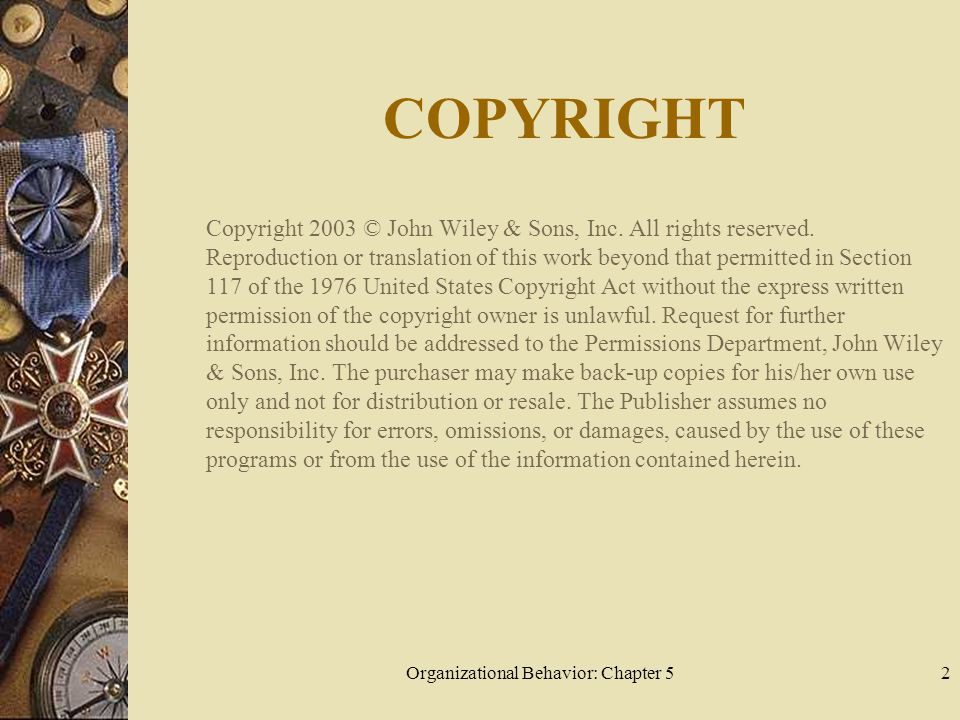 Organizational Behavior: Chapter 52 COPYRIGHT Copyright 2003 © John Wiley & Sons, Inc. All rights reserved. Reproduction or translation of this work b