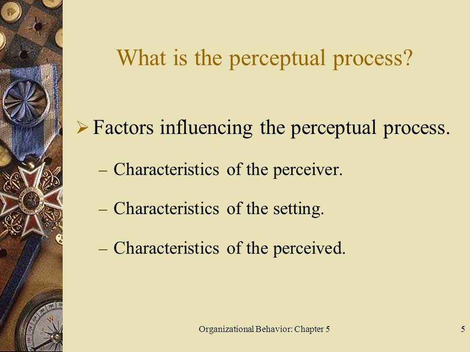 Organizational Behavior: Chapter 55 What is the perceptual process?  Factors influencing the perceptual process. – Characteristics of the perceiver.