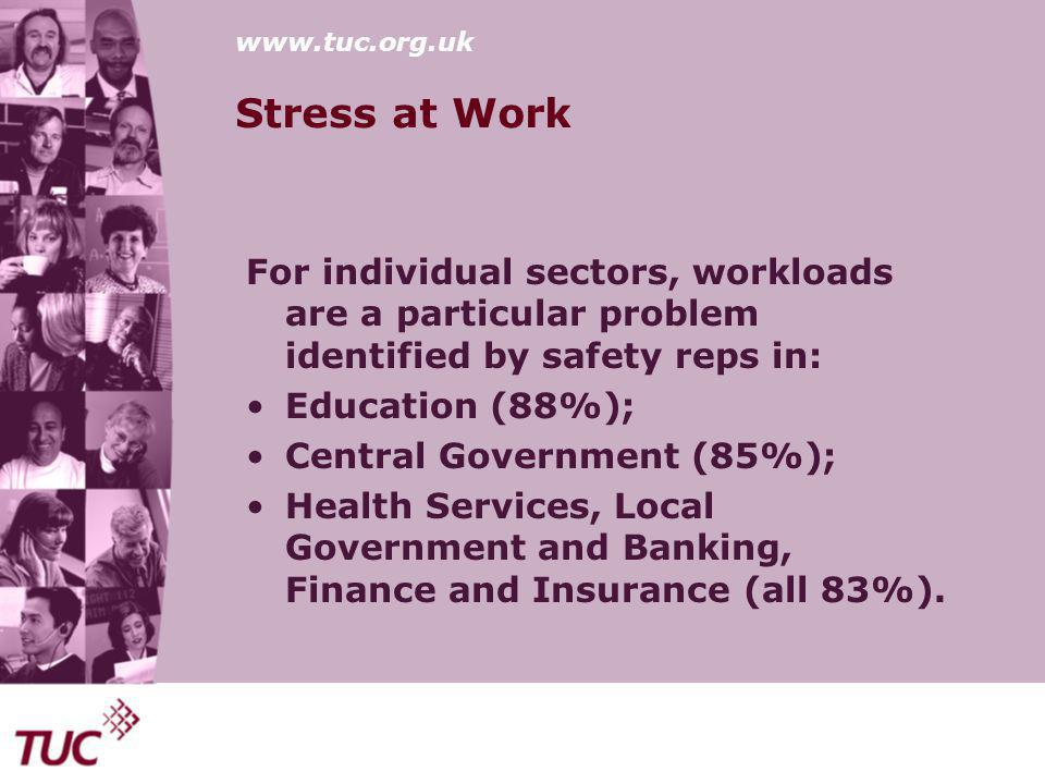 www.tuc.org.uk Stress at Work For individual sectors, workloads are a particular problem identified by safety reps in: Education (88%); Central Government (85%); Health Services, Local Government and Banking, Finance and Insurance (all 83%).