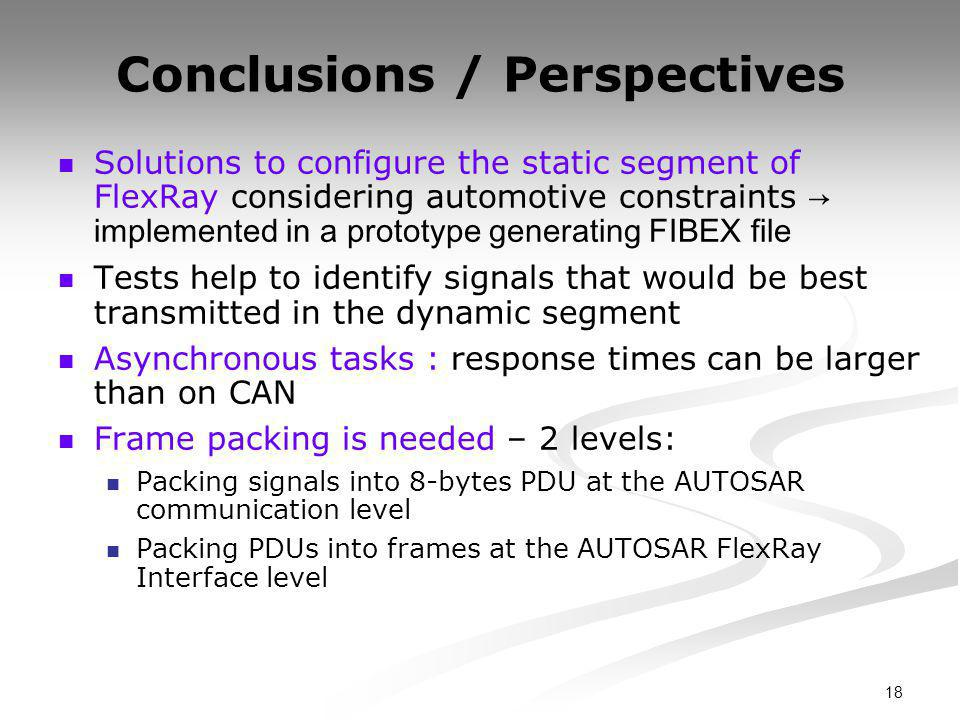 18 Conclusions / Perspectives Solutions to configure the static segment of FlexRay considering automotive constraints → implemented in a prototype generating FIBEX file Tests help to identify signals that would be best transmitted in the dynamic segment Asynchronous tasks : response times can be larger than on CAN Frame packing is needed – 2 levels: Packing signals into 8-bytes PDU at the AUTOSAR communication level Packing PDUs into frames at the AUTOSAR FlexRay Interface level