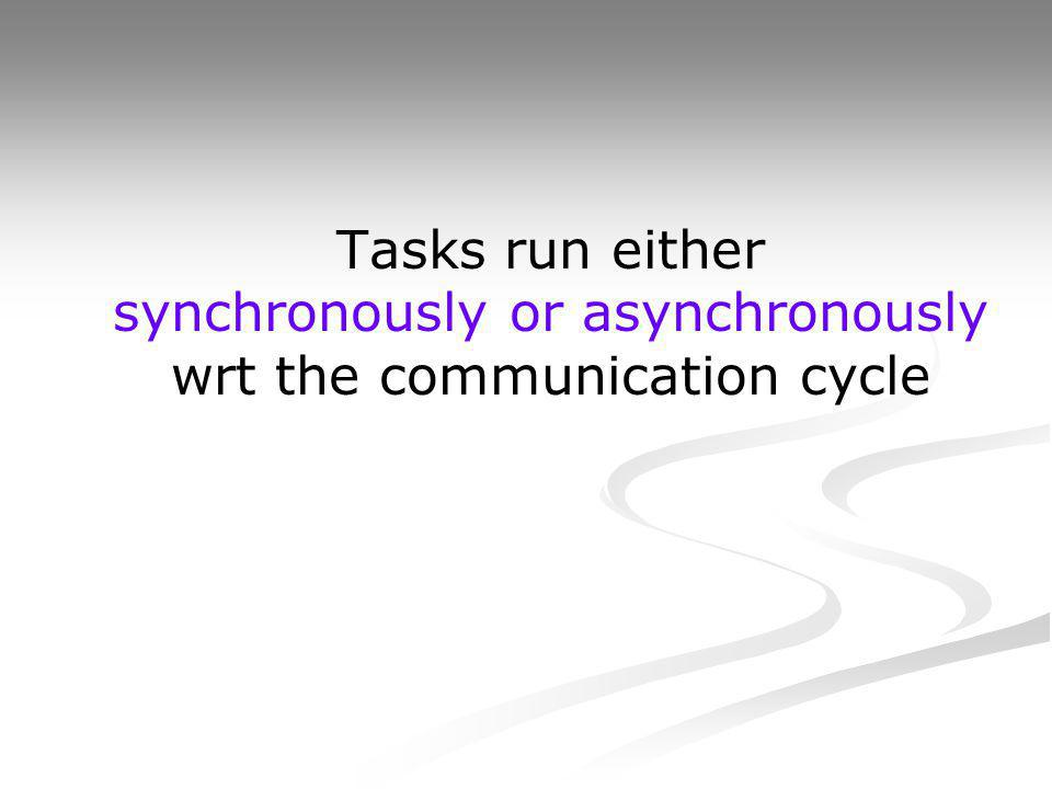 Tasks run either synchronously or asynchronously wrt the communication cycle