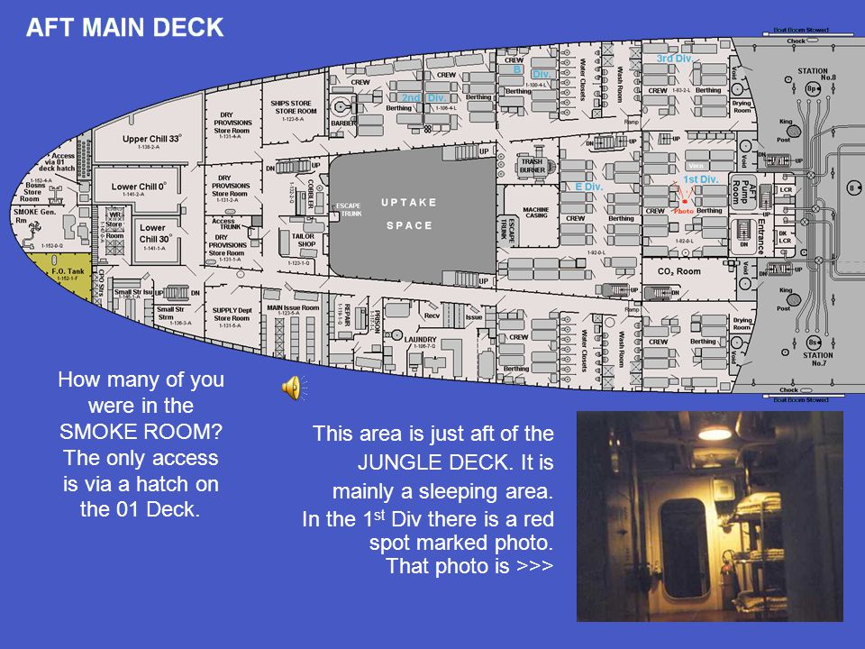 How many of you were in the SMOKE ROOM? The only access is via a hatch on the 01 Deck. This area is just aft of the JUNGLE DECK. It is mainly a sleepi