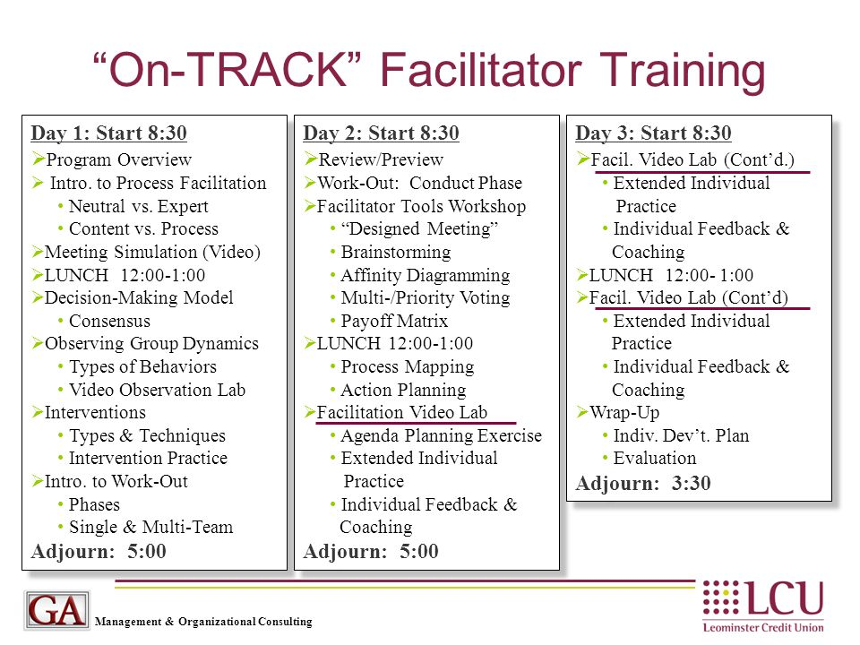 "Management & Organizational Consulting ""On-TRACK"" Facilitator Training Day 1: Start 8:30  Program Overview  Intro. to Process Facilitation Neutral v"