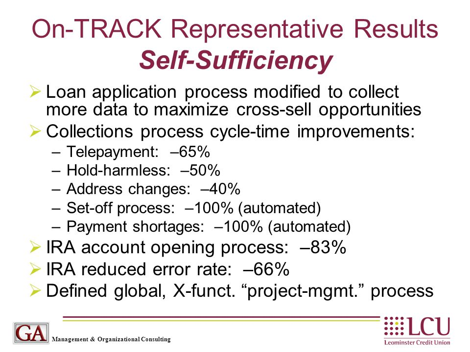 Management & Organizational Consulting On-TRACK Representative Results Self-Sufficiency  Loan application process modified to collect more data to ma
