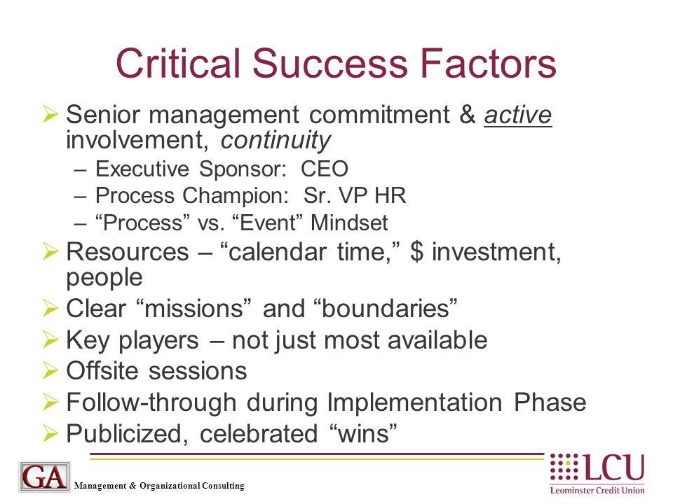 Management & Organizational Consulting Critical Success Factors  Senior management commitment & active involvement, continuity –Executive Sponsor: CEO –Process Champion: Sr.
