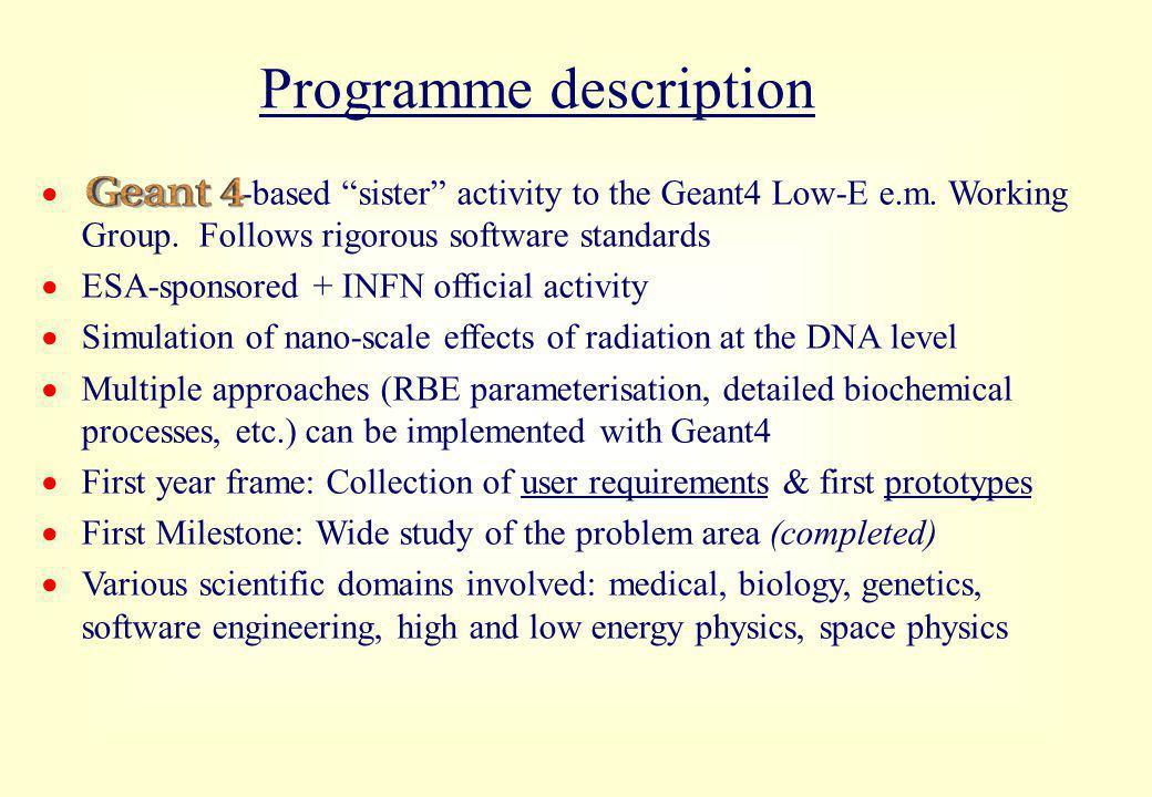 Programme description  -based sister activity to the Geant4 Low-E e.m.