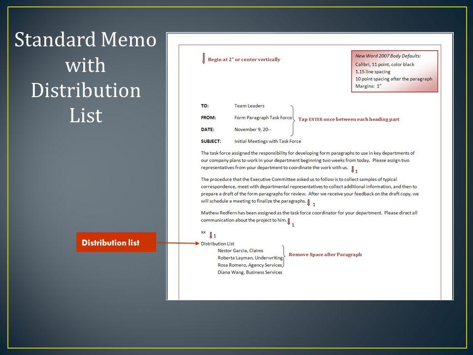 Standard Memo with Distribution List Distribution list