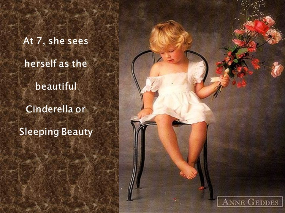 The glance of a female, into a mirror.. At 2 she looks into the mirror and sees a princess.