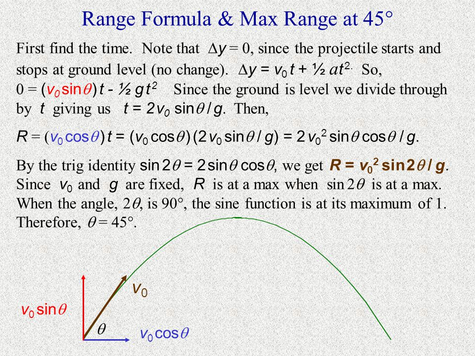 Max Range at 45  Over level ground at a constant launch speed, what angle maximizes the range, R .