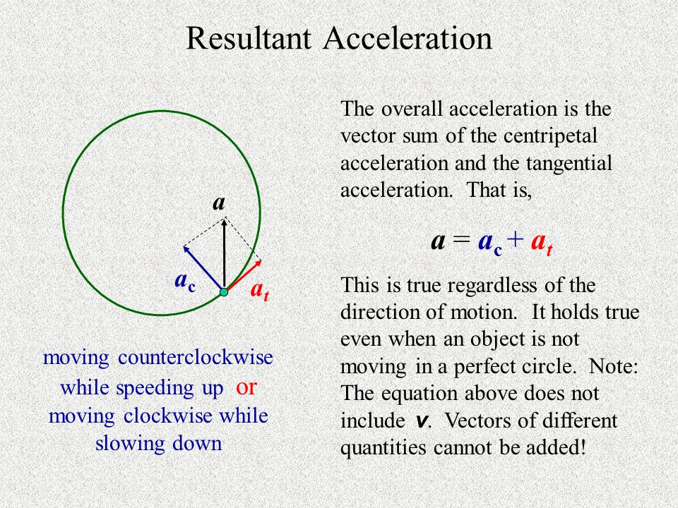 Centripetal acceleration vector always points toward center of circle.