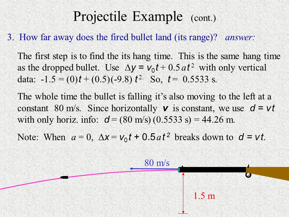Projectile Example A rifle is held perfectly horizontally 1.5 m over level ground.