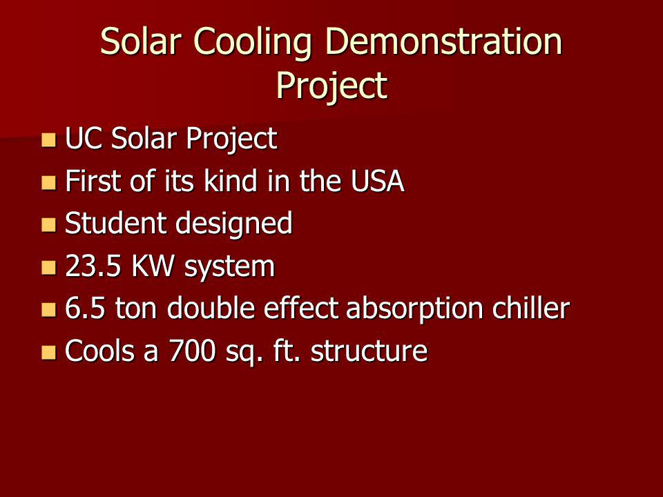 Solar Cooling Demonstration Project UC Solar Project UC Solar Project First of its kind in the USA First of its kind in the USA Student designed Student designed 23.5 KW system 23.5 KW system 6.5 ton double effect absorption chiller 6.5 ton double effect absorption chiller Cools a 700 sq.
