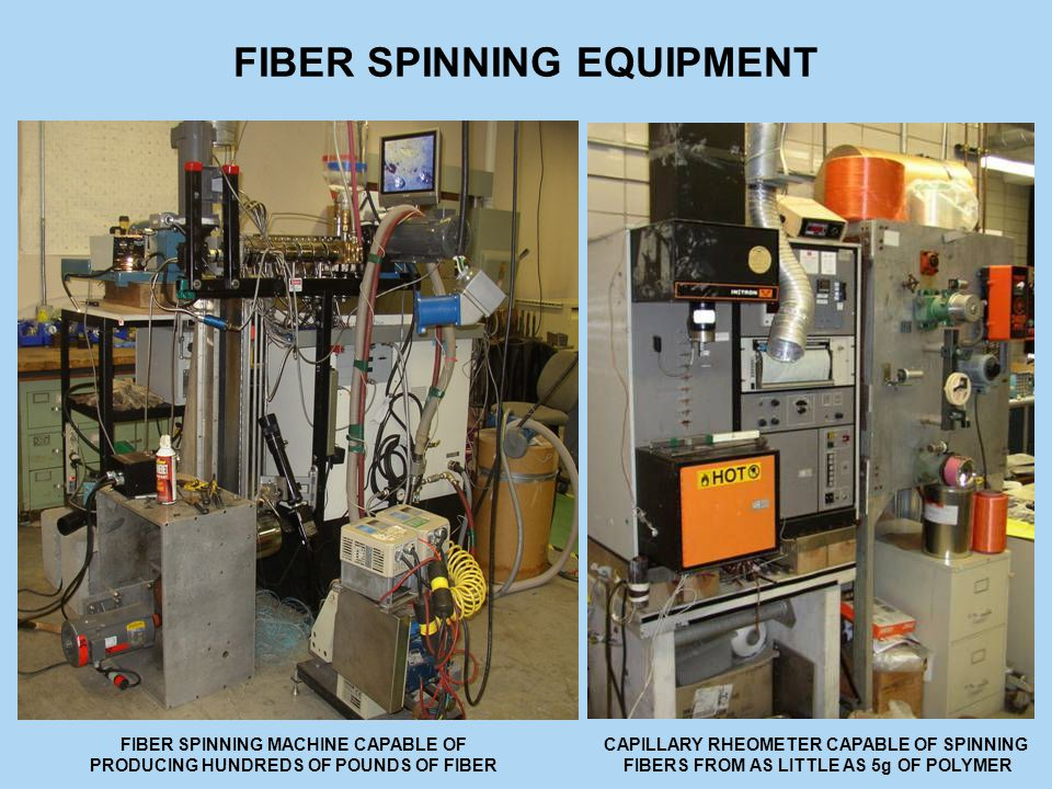 FIBER SPINNING EQUIPMENT FIBER SPINNING MACHINE CAPABLE OF PRODUCING HUNDREDS OF POUNDS OF FIBER CAPILLARY RHEOMETER CAPABLE OF SPINNING FIBERS FROM AS LITTLE AS 5g OF POLYMER