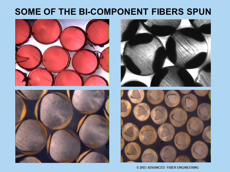 SOME OF THE BI-COMPONENT FIBERS SPUN © 2003 ADVANCED FIBER ENGINEERING