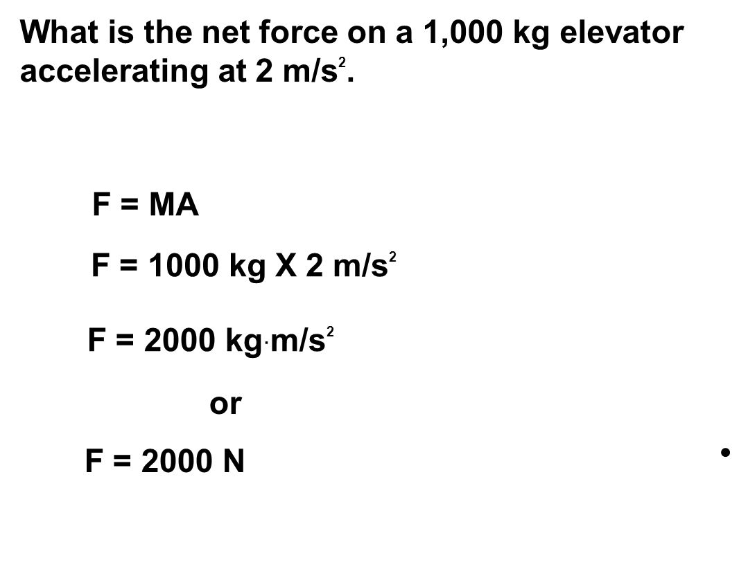 What is the net force on a 1,000 kg elevator accelerating at 2 m/s 2.