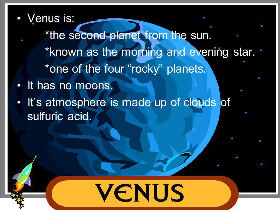 "Mercury is: *the first and closest planet to the sun. *the second smallest planet in our solar system. *one of the four ""rocky"" planets. It has no moo"