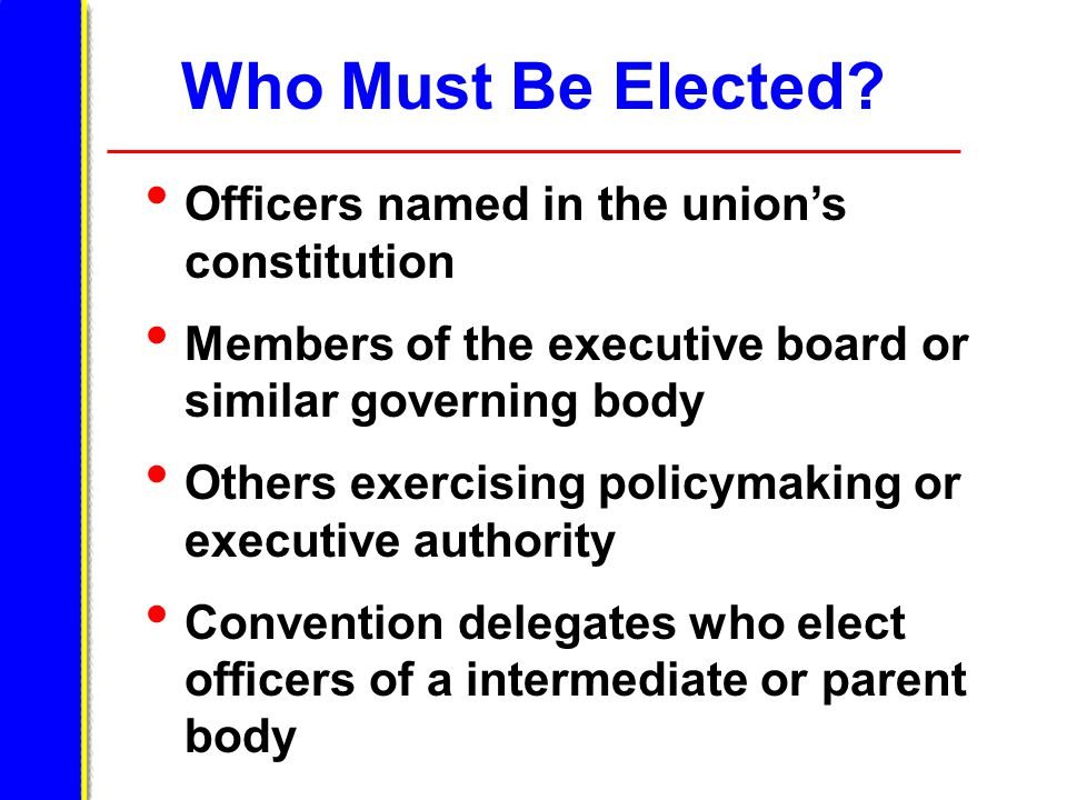 Who Must Be Elected.