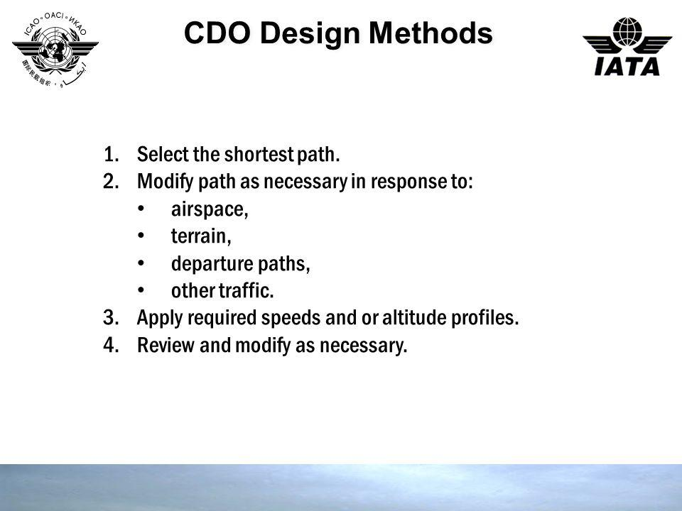 CDO Design Methods 1.Select the shortest path. 2.Modify path as necessary in response to: airspace, terrain, departure paths, other traffic. 3.Apply r