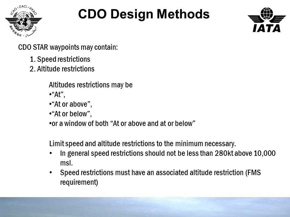 """CDO Design Methods CDO STAR waypoints may contain: Altitudes restrictions may be """"At"""", """"At or above"""", """"At or below"""", or a window of both """"At or above"""
