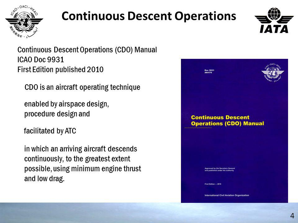 Continuous Descent Operations 5 Continuous Descent Operations (CDO) Manual ICAO Doc 9931 Provides background for: Air Navigation Service Providers Aircraft Operators Airport Operators Aviation Regulators
