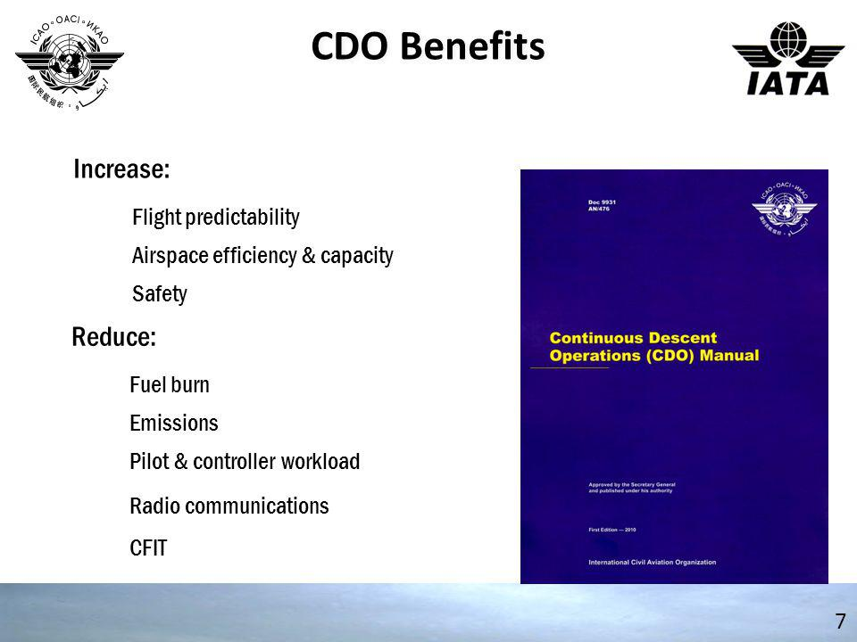CDO Benefits 7 Flight predictability Airspace efficiency & capacity Safety Increase: Fuel burn Emissions Pilot & controller workload Reduce: Radio com