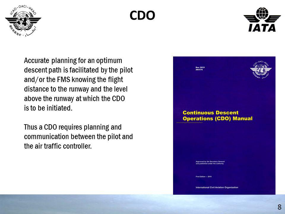 CDO 9 A CDO design is integrated within the airspace concept and must balance the needs of departing aircraft with the CDO arrival aircraft.