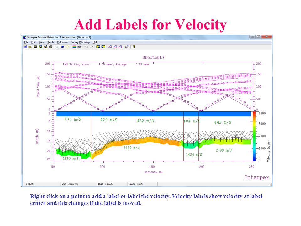 Add Labels for Velocity Right-click on a point to add a label or label the velocity.